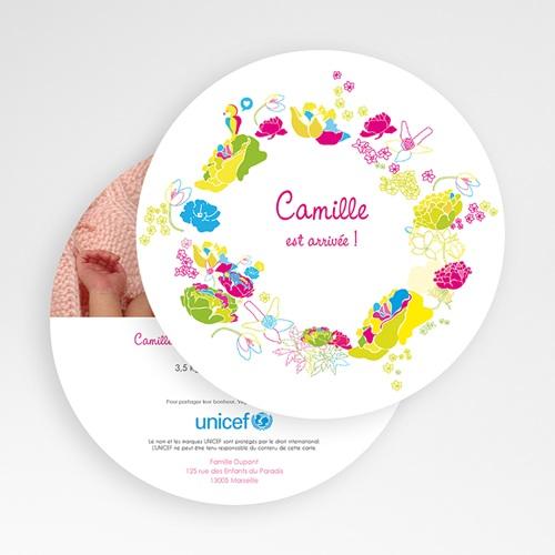 Faire-Part Naissance Fille UNICEF L'été de bébé gratuit
