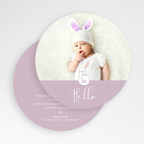 Faire-Part Naissance Fille - Lapin Malicieux 49482 thumb