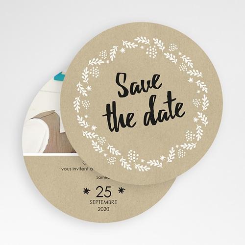 Save The Date Mariage Couronne de bonheur gratuit