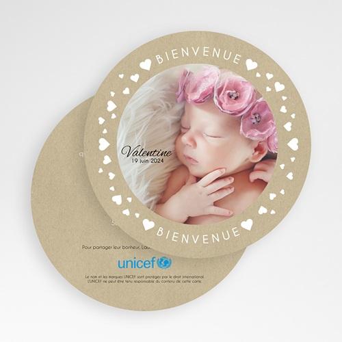 Faire-Part Naissance Fille UNICEF - La ronde des coeurs 49498 preview