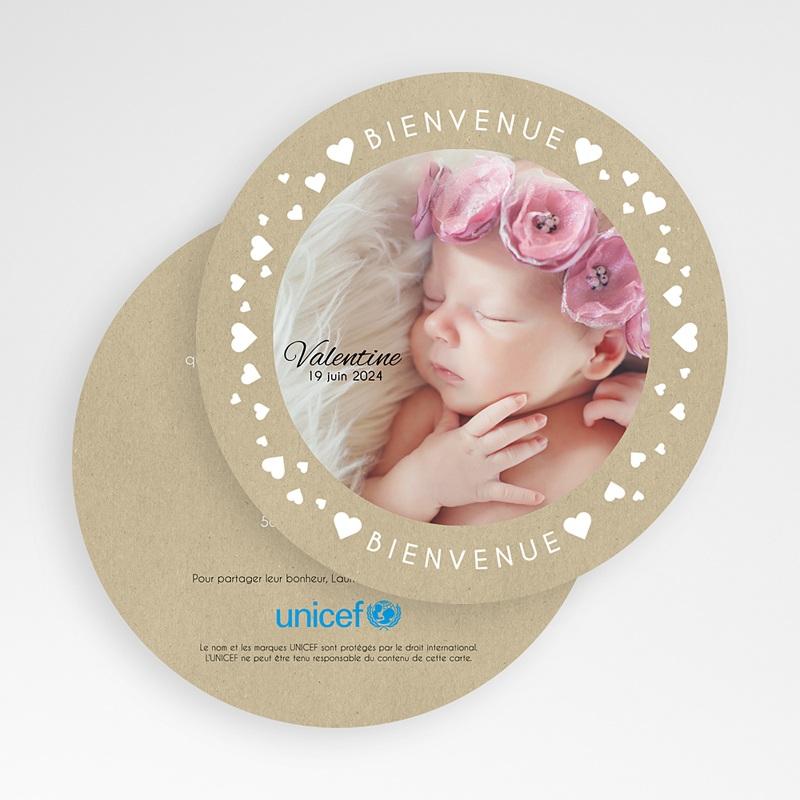 Faire-Part Naissance Fille UNICEF La ronde des coeurs gratuit
