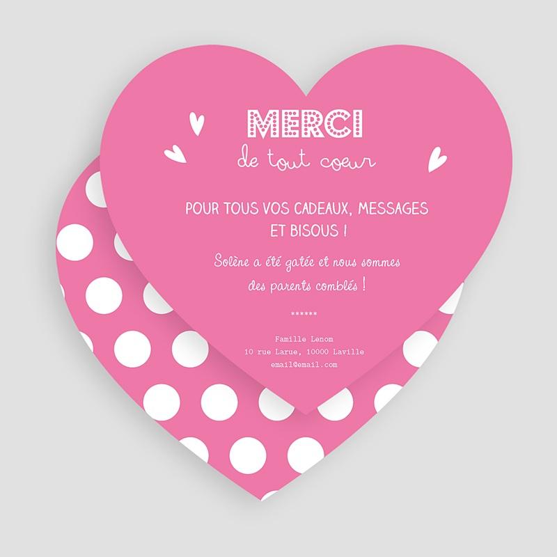 Carte Remerciement Naissance Fille Petit Coeur Rose gratuit