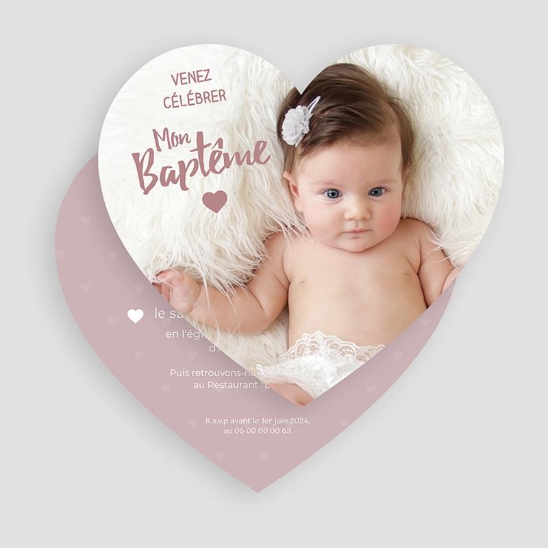 Faire-part baptême fille Coeur poudré gratuit