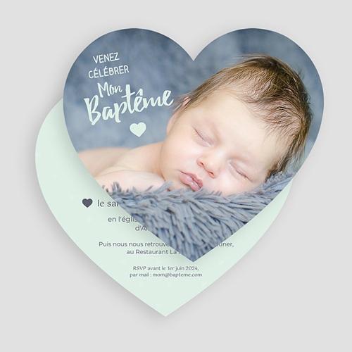 Faire-part Baptême Garçon - Coeur Pastel 49533 preview