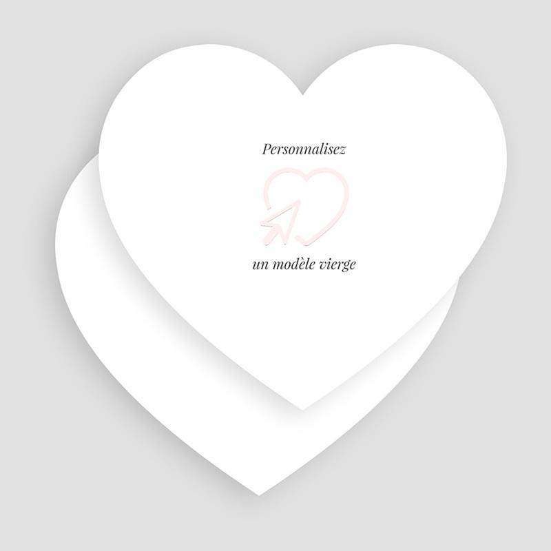 Faire-Part Mariage Vierge coeur 14 cm x 13 cm à personnaliser gratuit