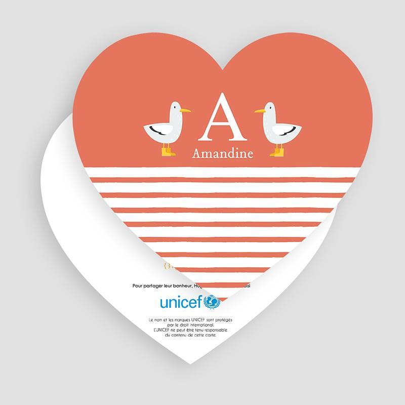 Faire-Part Naissance Fille UNICEF Lettre pour elle gratuit
