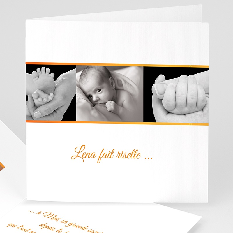 Faire-part naissance fille Ma photo carte orange