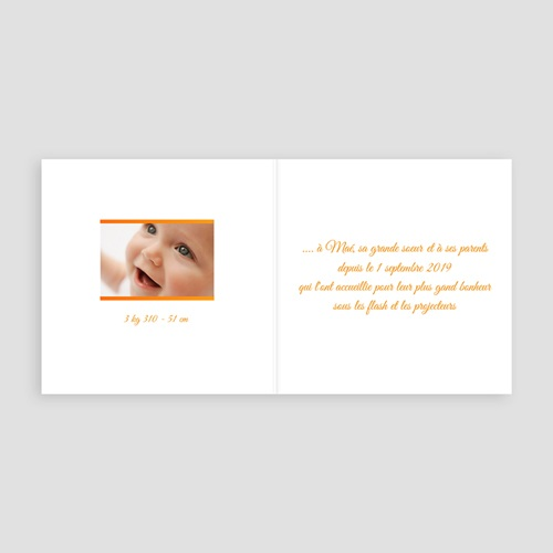 Faire-part naissance fille Ma photo carte orange pas cher