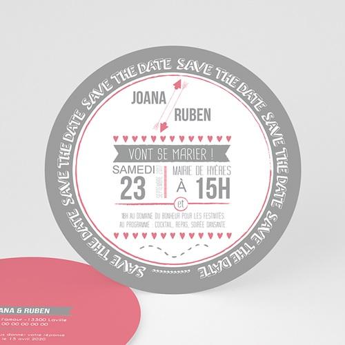Faire-part mariage rond - En Rose & Gris 49743
