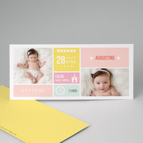 Faire-part Baptême Fille - Façon planning 49844 thumb