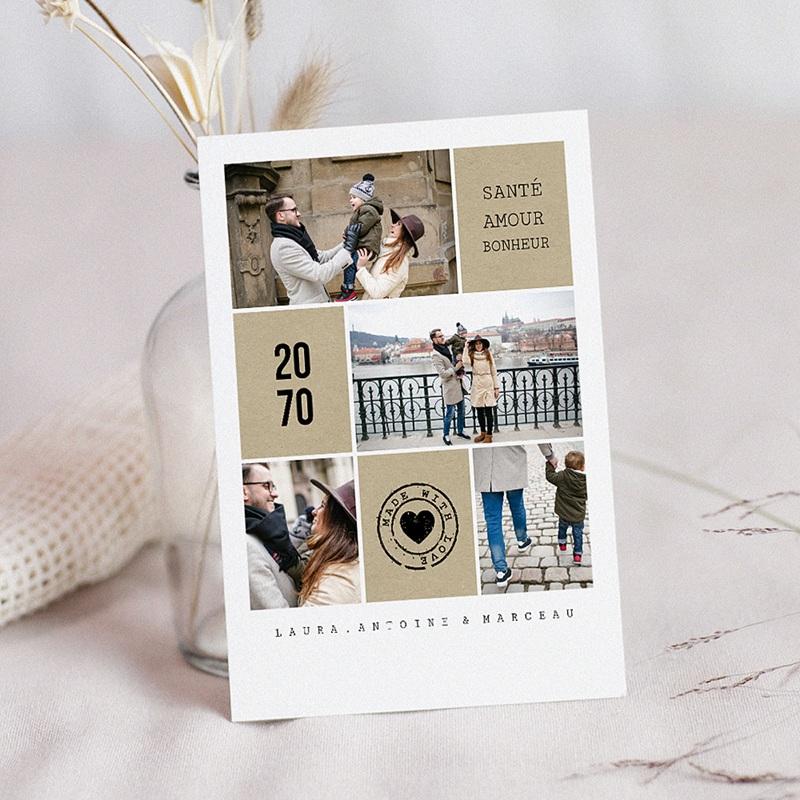 Carte de voeux Bonne année souhaits Santé, Amour et Bonheur