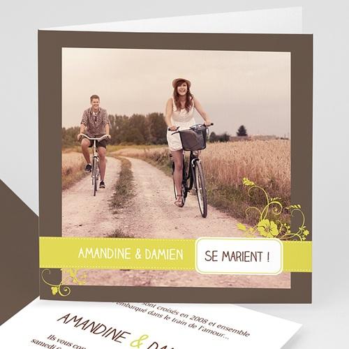 Faire-Part Mariage - Bordure Choco et Bandeau Anis 4998 thumb