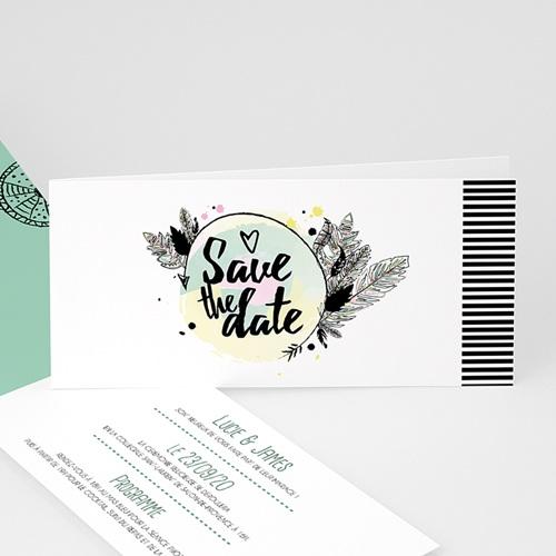 Faire-Part Mariage Personnalisés - Jolies plumes 50190