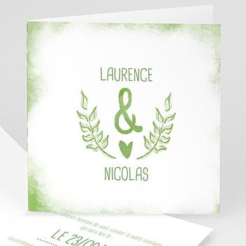 Faire-Part Mariage Personnalisés - Vert & Blanc - 0