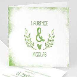Faire-part mariage vert Vert & Blanc