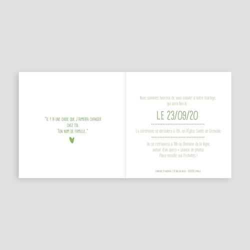 Faire-Part Mariage Vert Vert & Blanc pas cher