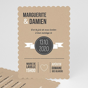 Faire-part mariage kraft alliances fond kraft