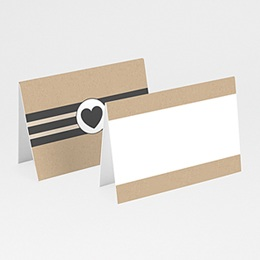 Marque place mariage Kraft - coeur anthracite