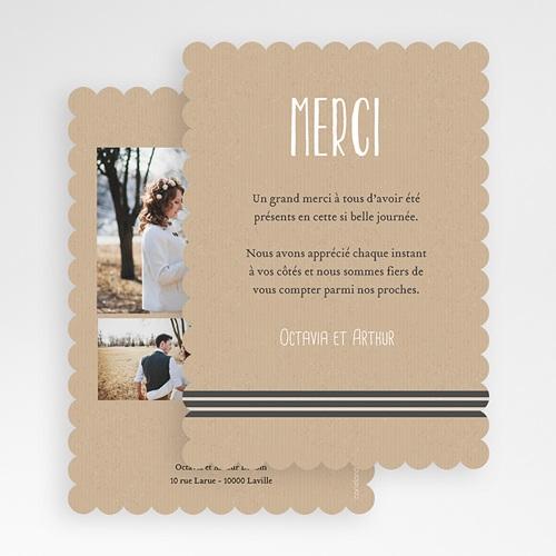 Carte Remerciement Mariage Kraft et bords dentelés gratuit