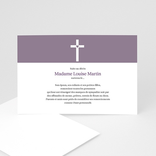 Carte remerciement décès chrétien Sacré Coeur