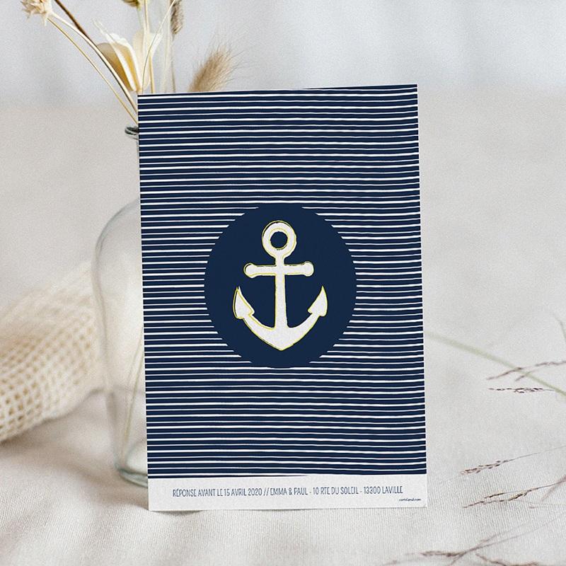 Extrêmement Faire-Part Mariage Personnalisés - Bleu Marine | Carteland.com FC27