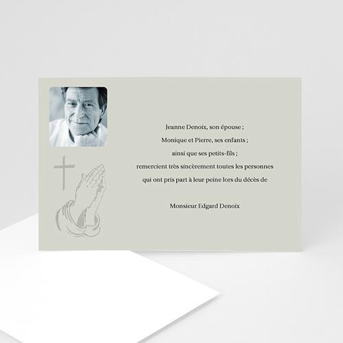 Carte remerciement décès chrétien Priez pour son salut - Gris