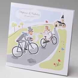 Faire-Part Mariage Traditionnel - Mariés en bicyclette - 1