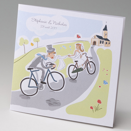 Faire-Part Mariage Traditionnel - Mariés en bicyclette 50825