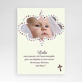 Remerciements Baptême Fille - Cérémonie - Beige - 3