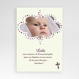 Carte remerciement baptême fille Merci de Lola