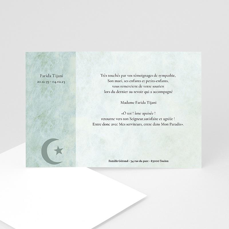 Carte Remerciement Décès Musulman Hommage Croissant fond vert