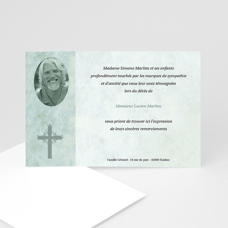 Carte remerciement décès chrétien Lumière éternelle