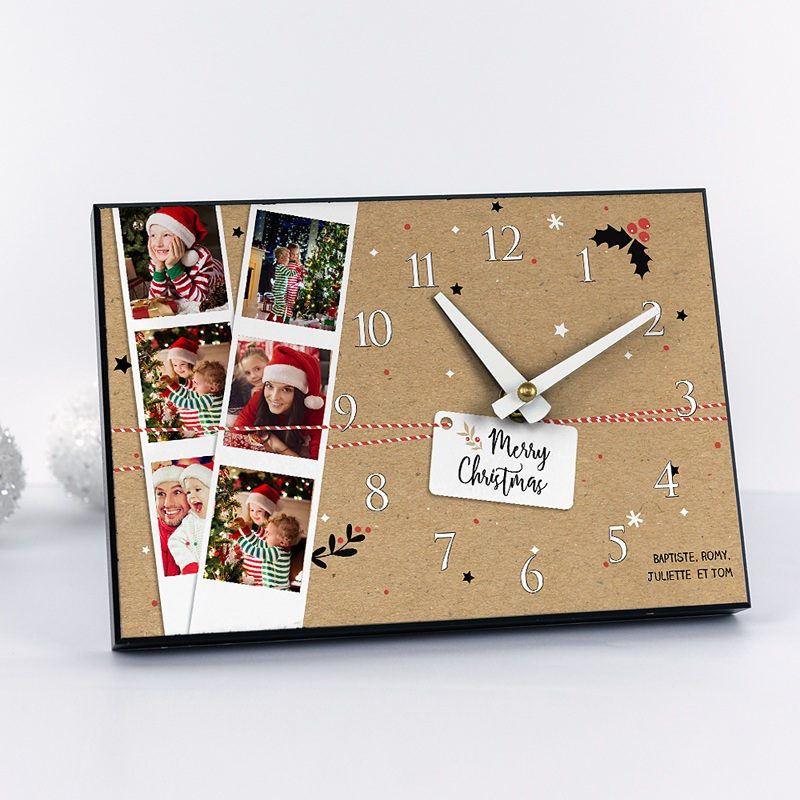 horloge avec photo le temps de noel. Black Bedroom Furniture Sets. Home Design Ideas
