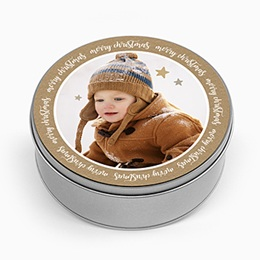 Boîte en métal personnalisée - Merry Christmas & Kraft - 0