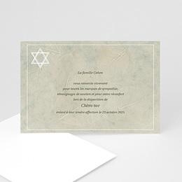 Carte remerciement décès juif Bouclier de David gris