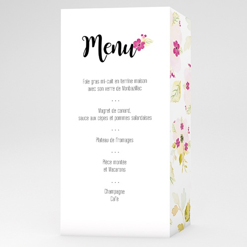 Menu Mariage Romance Watercolor
