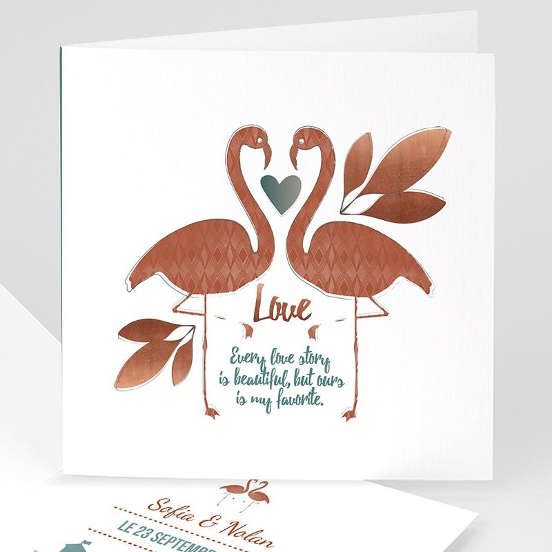 Faire-part mariage Flamant Love
