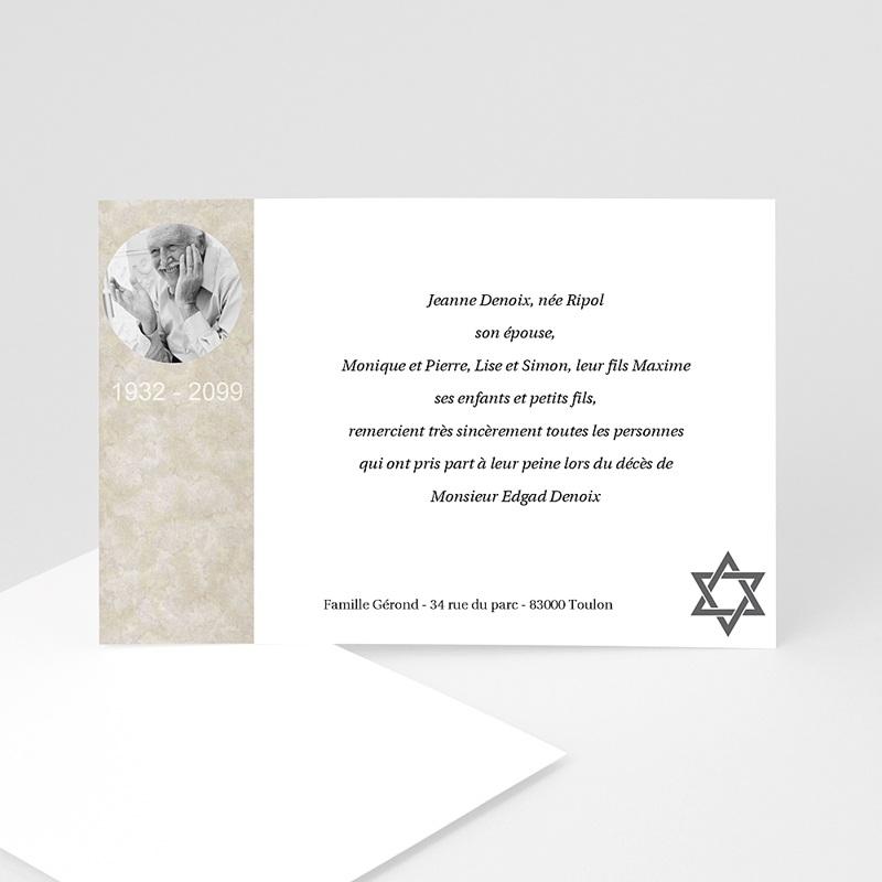 Carte Remerciement Décès Juif Yahrzeit - hommage posthume