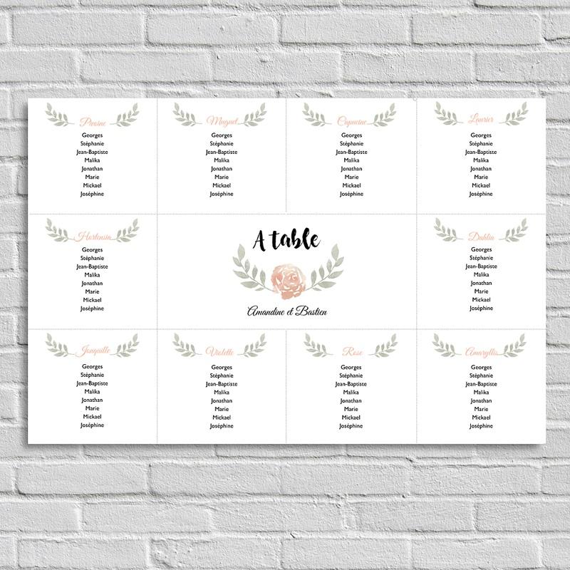 Poster photo Plan de Table Fleur