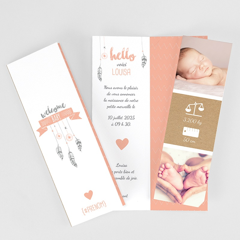 Faire Part Naissance Original - Attrape Rêve Girly Duo 51845 thumb