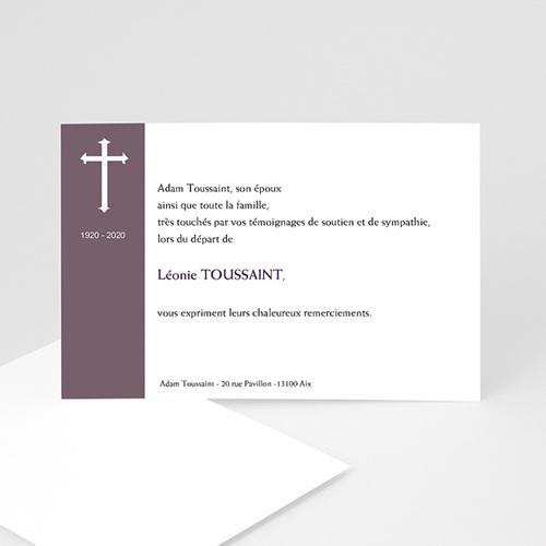 Carte Remerciement Décès Chrétien Croix violette