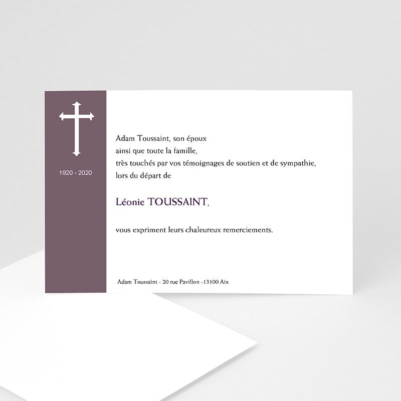 Remerciements Décès Chrétien - Croix violette  5189 thumb