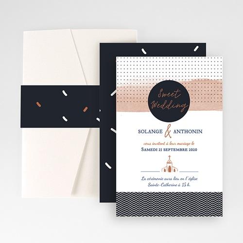 Faire Part Mariage Pochette rectangulaire - Sweet Wedding & Motifs 51902