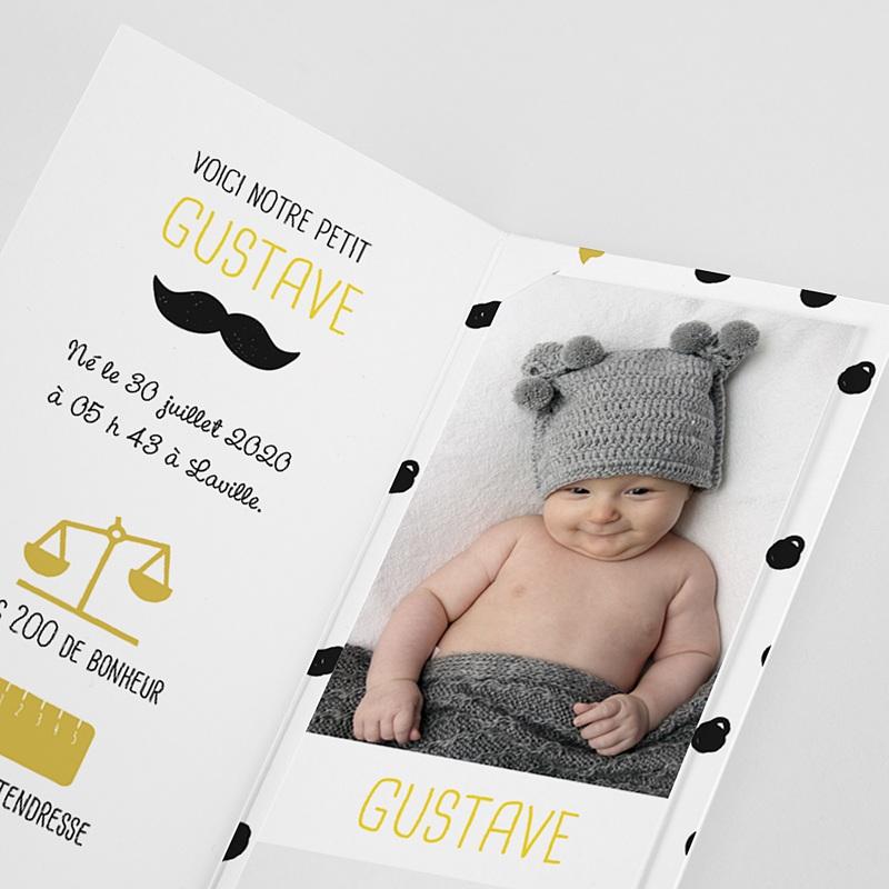 Faire-Part Naissance Garçon Moustache & petits pois pas cher