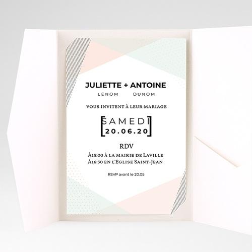 Faire Part Mariage Pochette rectangulaire - Style cubiste 52275 thumb