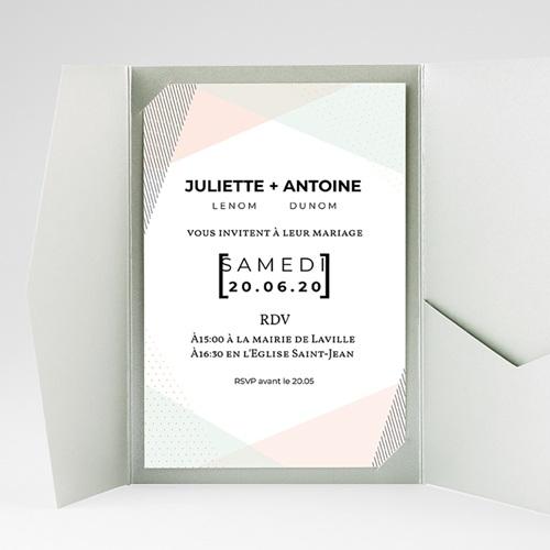 Faire Part Mariage Pochette rectangulaire - Style cubiste 52276 thumb
