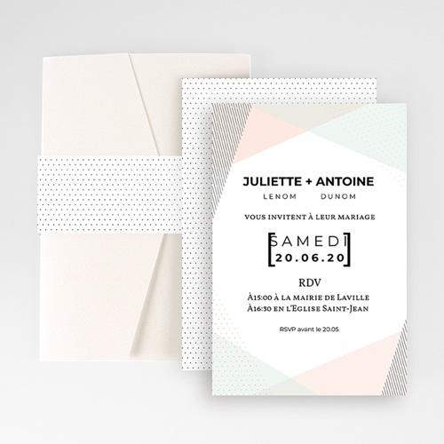 Faire Part Mariage Pochette rectangulaire - Style cubiste 52279 thumb