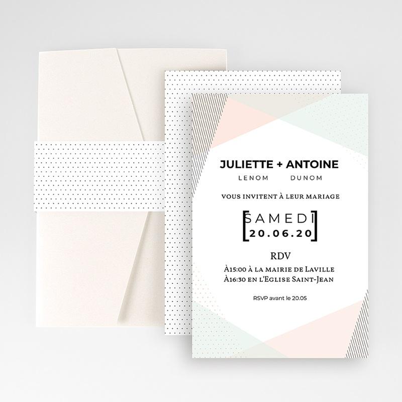 Faire Part Mariage rectangulaire Style cubiste