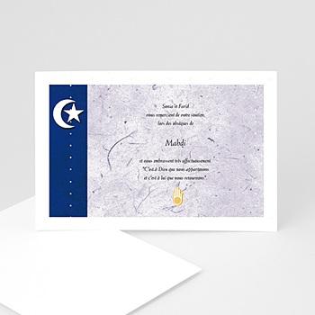 Carte remerciement décès musulman Hilal Bleue