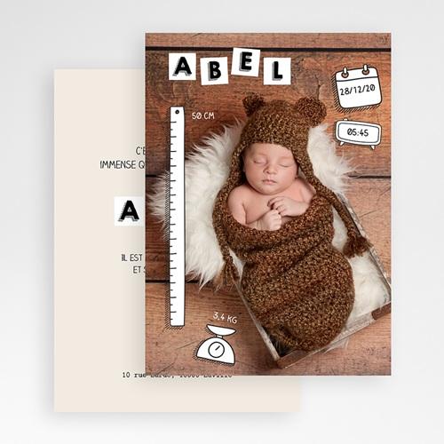 Faire-part naissance garçon ABC bébé gratuit